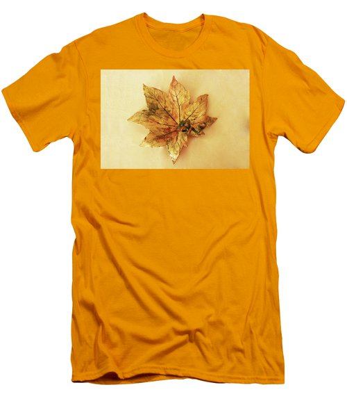 Men's T-Shirt (Slim Fit) featuring the photograph Leaf Plate1 by Itzhak Richter