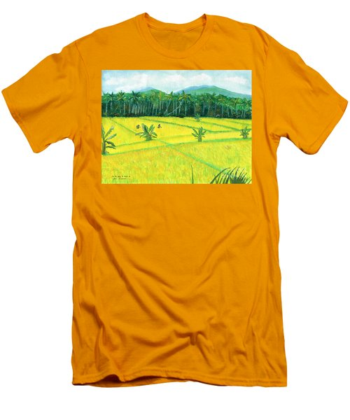 Men's T-Shirt (Slim Fit) featuring the painting On The Way To Ubud II Bali Indonesia by Melly Terpening