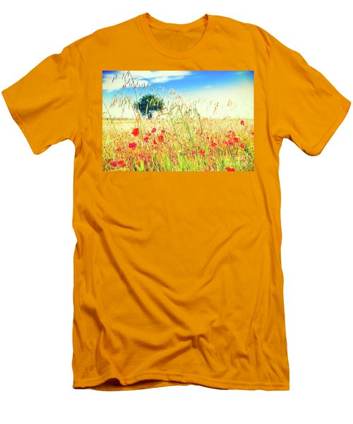 Men's T-Shirt (Athletic Fit) featuring the photograph Poppies With Tree In The Distance by Silvia Ganora