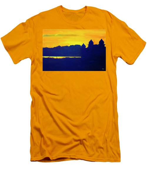 Men's T-Shirt (Slim Fit) featuring the painting Saltair Sunset by Jane Autry