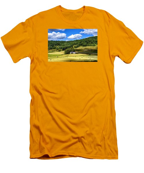Summer Morning Hay Field Men's T-Shirt (Slim Fit) by Thomas R Fletcher