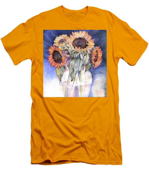 Men's T-Shirt (Slim Fit) featuring the painting Sunflowers by Nadine Dennis