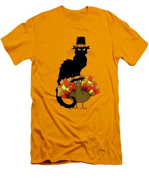 Thanksgiving Le Chat Noir With Turkey Pilgrim Men's T-Shirt (Slim Fit) by Gravityx9   Designs