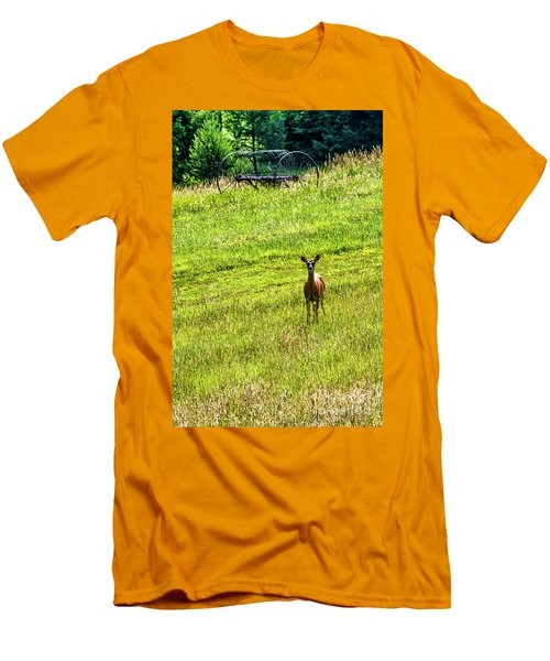 Men's T-Shirt (Slim Fit) featuring the photograph Whitetail Deer And Hay Rake by Thomas R Fletcher
