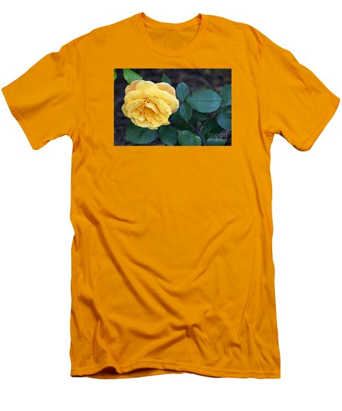 Men's T-Shirt (Slim Fit) featuring the painting Yellow Rose by Debra Crank