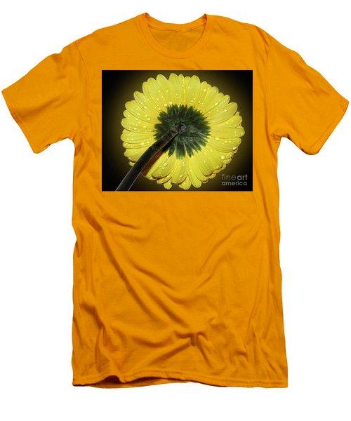 Men's T-Shirt (Slim Fit) featuring the photograph Yellow Gerber by Elvira Ladocki