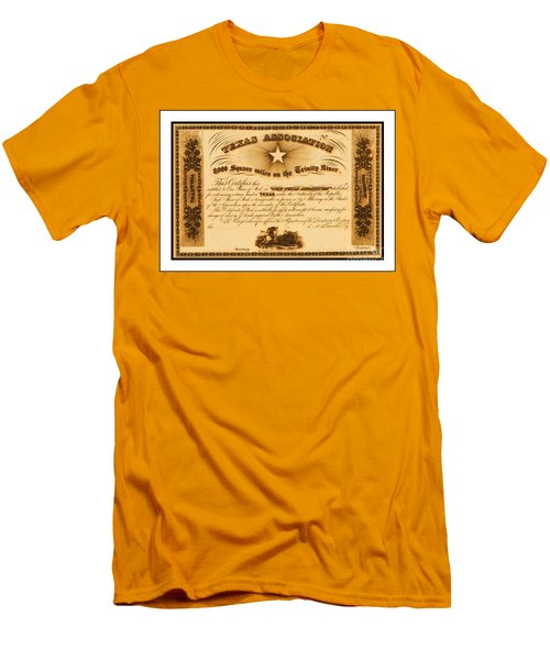 Men's T-Shirt (Athletic Fit) featuring the drawing 1844 Texas Association Stock Certificate For Pioneer Emigration To The Mercer Colony by Peter Gumaer Ogden