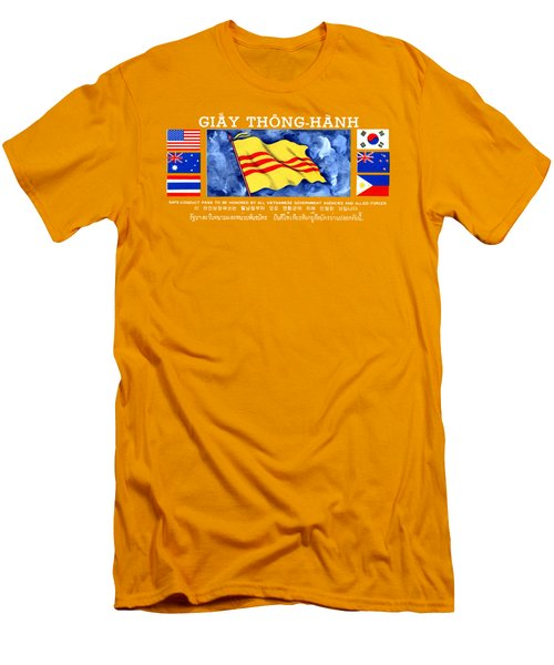Men's T-Shirt (Slim Fit) featuring the painting 1968 Vietnam War Safe Conduct Pass by Historic Image