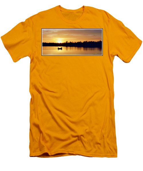 Fishermen On A Lake At Sunset Men's T-Shirt (Slim Fit) by A Gurmankin
