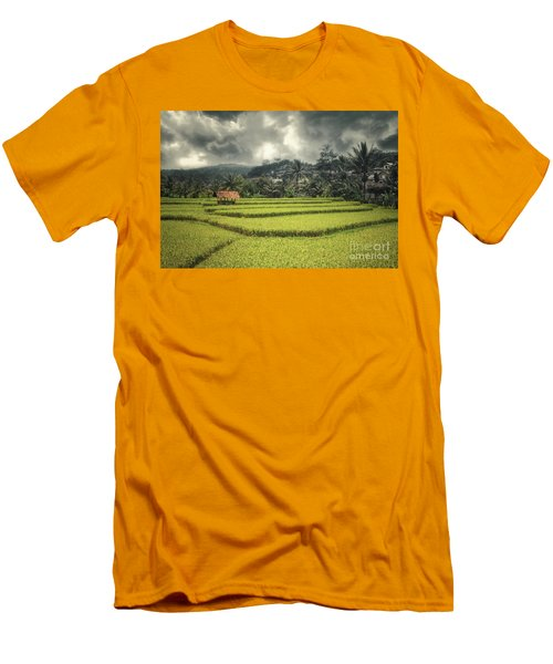 Men's T-Shirt (Slim Fit) featuring the photograph Paddy Field by Charuhas Images