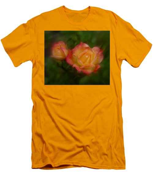 Men's T-Shirt (Slim Fit) featuring the photograph 2 Roses by Richard Cummings