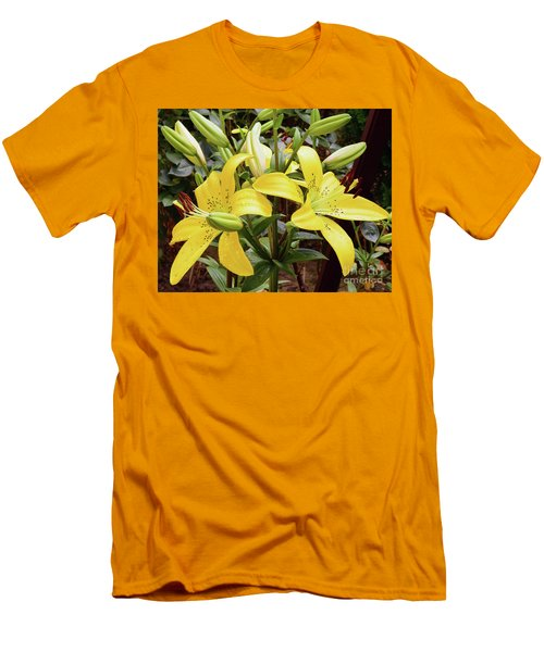 Men's T-Shirt (Slim Fit) featuring the photograph Yellow Lily by Elvira Ladocki