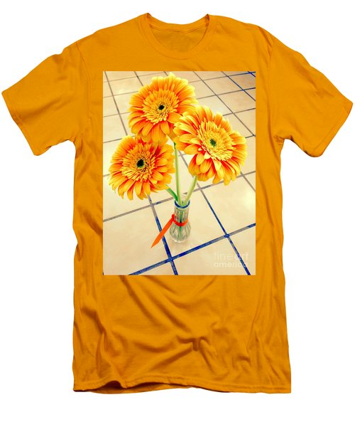 3 Golden Yellow Daisies Gift To My Beautiful Wife Suffering With No Hair Suffering Frombreast Cancer Men's T-Shirt (Slim Fit) by Richard W Linford