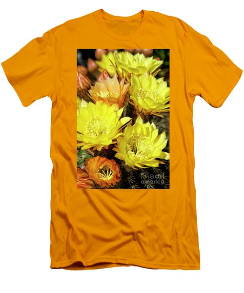 Yellow Cactus Flowers Men's T-Shirt (Slim Fit) by Jim And Emily Bush