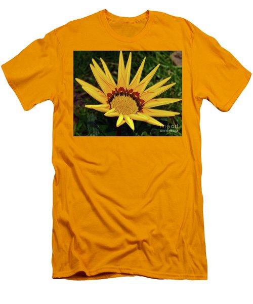 Men's T-Shirt (Slim Fit) featuring the photograph Yellow Gazania by Elvira Ladocki