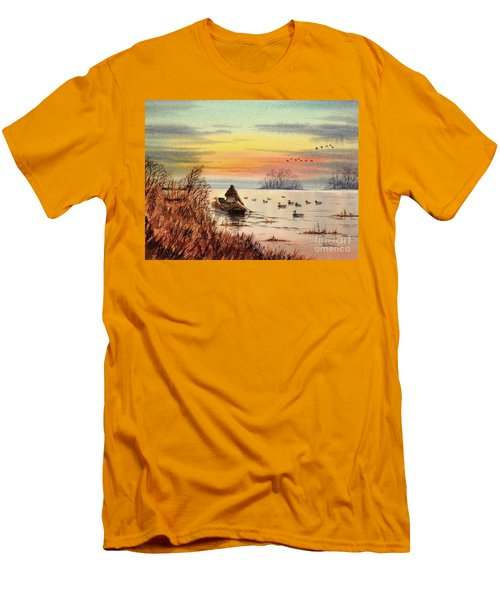 A Great Day For Duck Hunting Men's T-Shirt (Slim Fit) by Bill Holkham