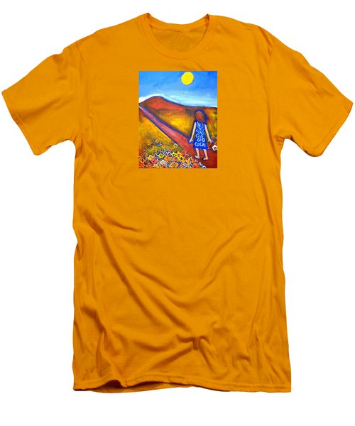 Men's T-Shirt (Slim Fit) featuring the painting A Sunny Path by Winsome Gunning