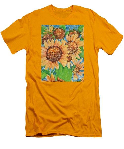 Abstract Sunflowers Men's T-Shirt (Slim Fit) by Chrisann Ellis