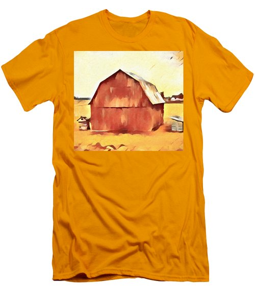 Men's T-Shirt (Slim Fit) featuring the painting American Gothic Red Barn by Dan Sproul