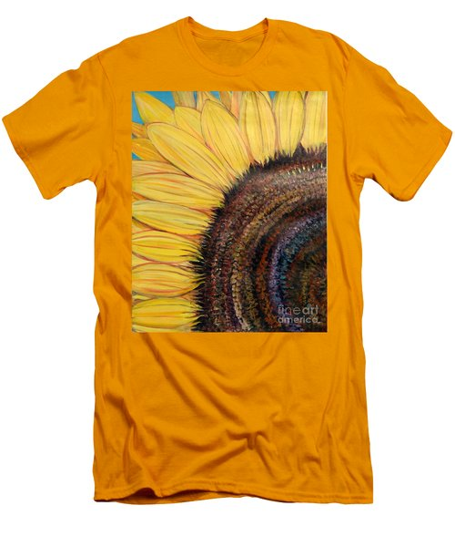 Men's T-Shirt (Slim Fit) featuring the painting Anatomy Of A Sunflower by Ecinja Art Works