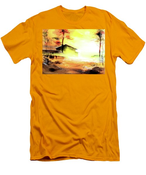 Men's T-Shirt (Slim Fit) featuring the painting Another Good Morning by Anil Nene