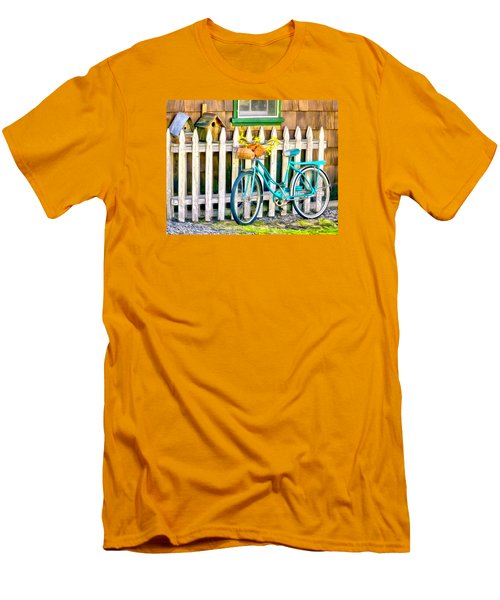 Aqua Antique Bicycle Along Fence Men's T-Shirt (Athletic Fit)