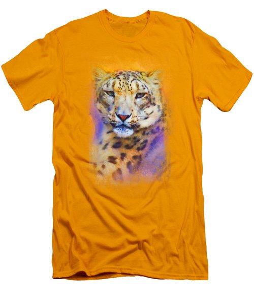 Colorful Expressions Snow Leopard Men's T-Shirt (Slim Fit) by Jai Johnson