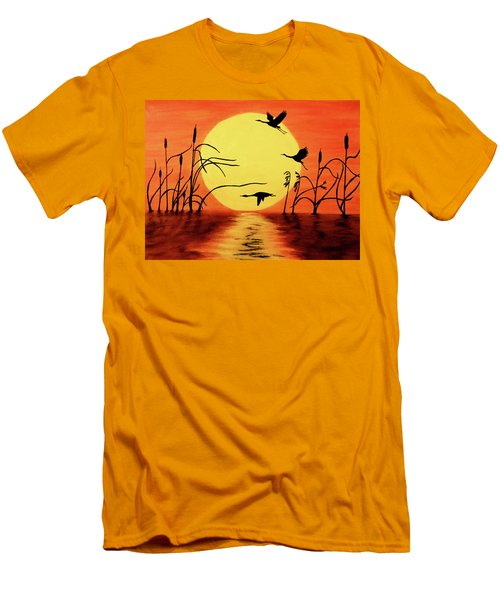 Men's T-Shirt (Slim Fit) featuring the painting Sunset Geese by Teresa Wing