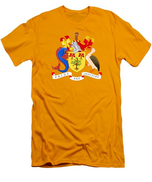 Barbados Coat Of Arms Men's T-Shirt (Slim Fit) by Movie Poster Prints