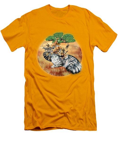 Cat In The Safari Hat Men's T-Shirt (Slim Fit) by Carol Cavalaris