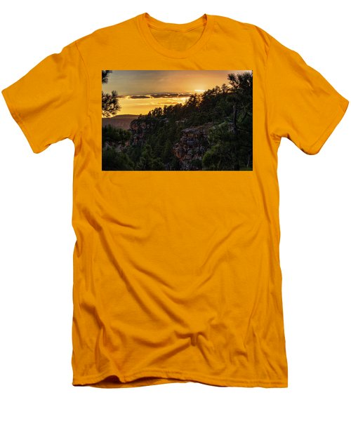 Men's T-Shirt (Athletic Fit) featuring the photograph As The Sun Sets On The Rim  by Saija Lehtonen