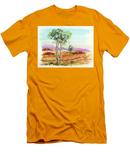 Men's T-Shirt (Slim Fit) featuring the painting Australian Landscape Sketch by Margaret Stockdale