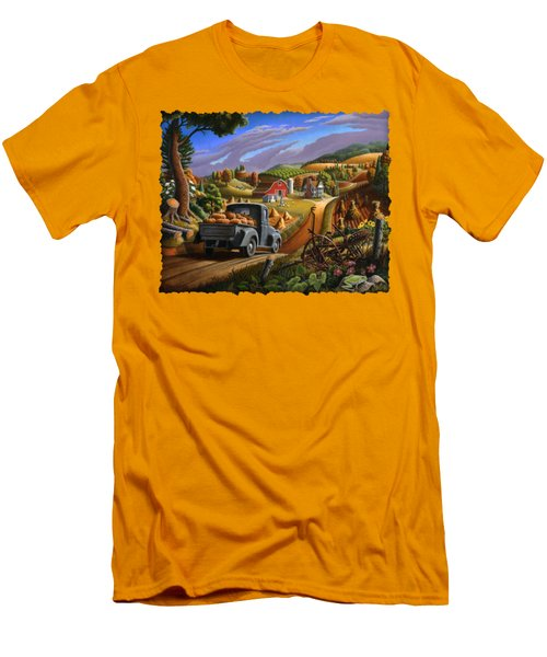 Autumn Appalachia Thanksgiving Pumpkins Rural Country Farm Landscape - Folk Art - Fall Rustic Men's T-Shirt (Athletic Fit)