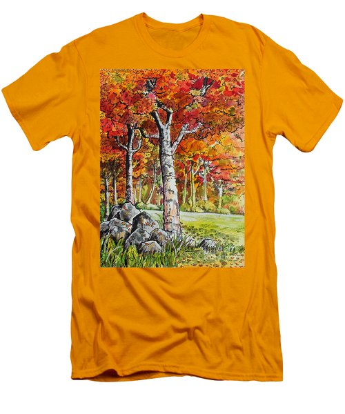 Men's T-Shirt (Slim Fit) featuring the painting Autumn Bloom by Terry Banderas