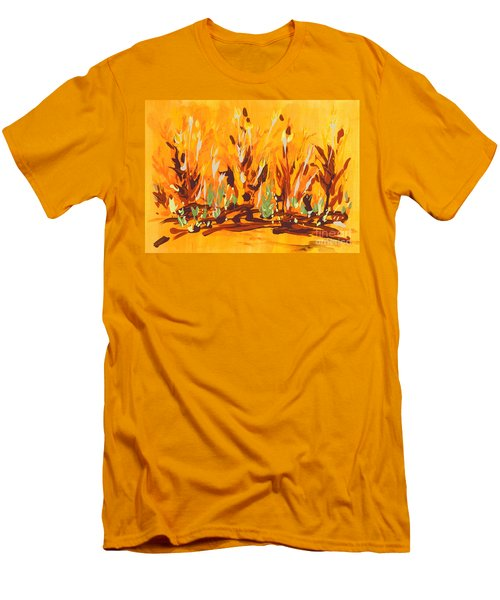 Men's T-Shirt (Slim Fit) featuring the painting Autumn Garden by Holly Carmichael