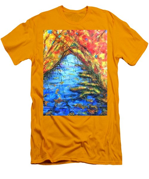 Men's T-Shirt (Slim Fit) featuring the painting Autumn Reflections 2 by Rae Chichilnitsky