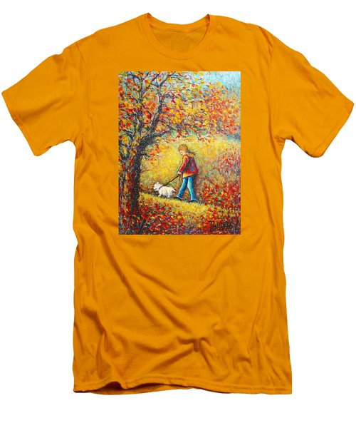 Men's T-Shirt (Slim Fit) featuring the painting Autumn Walk  by Natalie Holland