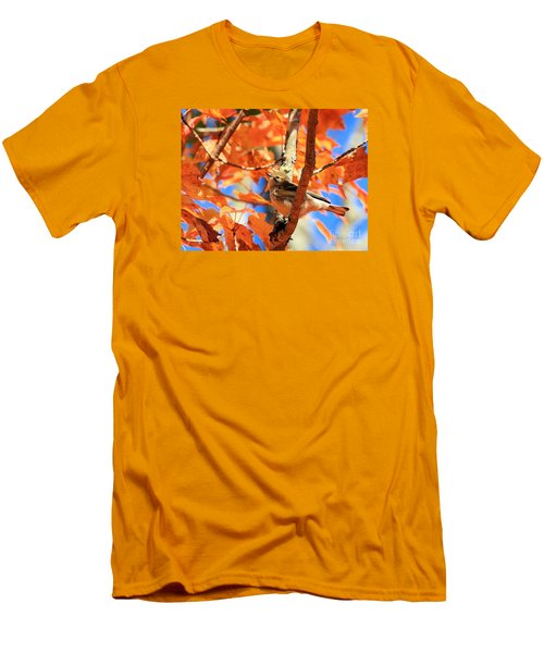 Men's T-Shirt (Slim Fit) featuring the photograph Autumn Warbler by Debbie Stahre