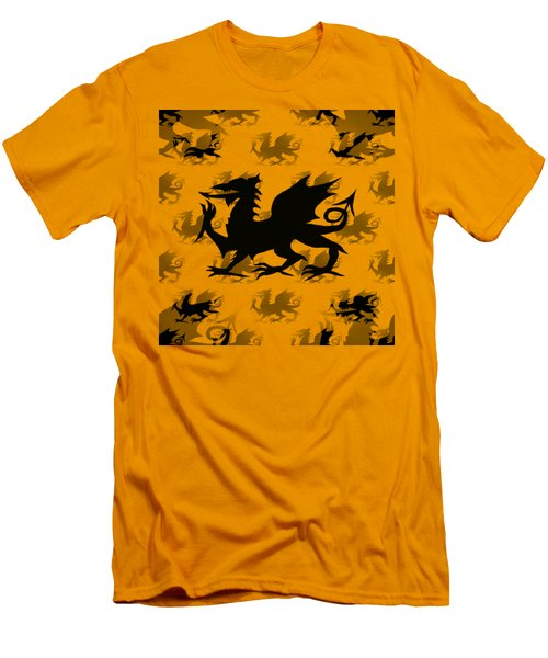 Background Choice Welsh Dragon Black Men's T-Shirt (Athletic Fit)