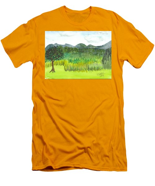 Men's T-Shirt (Slim Fit) featuring the painting Backyard In Barton by Donna Walsh