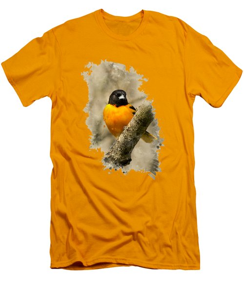 Baltimore Oriole Watercolor Art Men's T-Shirt (Slim Fit) by Christina Rollo