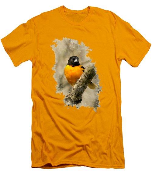 Baltimore Oriole Watercolor Art Men's T-Shirt (Athletic Fit)
