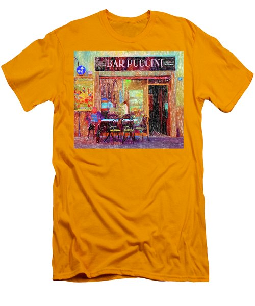 Bar Puccini Lucca Italy Men's T-Shirt (Slim Fit) by Wally Hampton