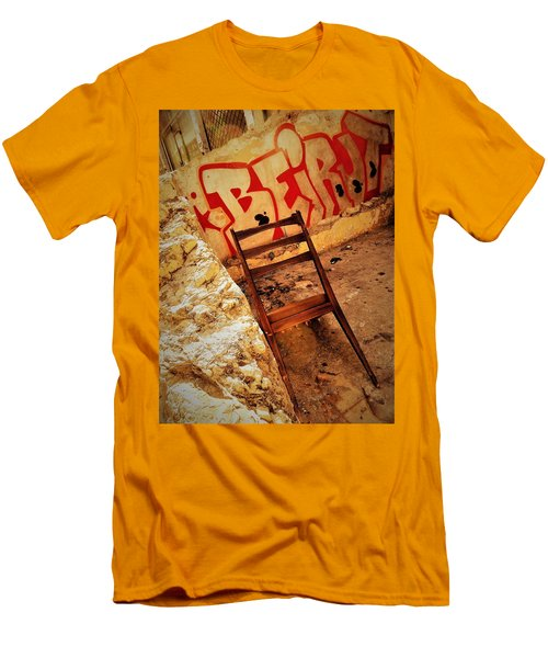 Beirut Graffiti With A Lonely Chair  Men's T-Shirt (Slim Fit) by Funkpix Photo Hunter