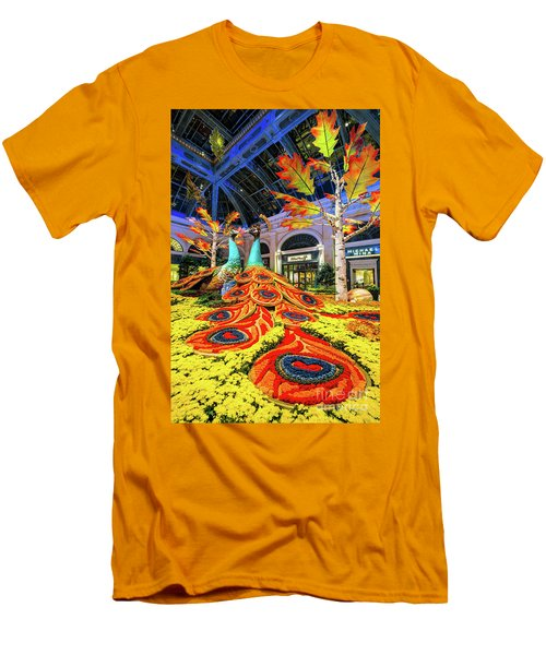 Bellagio Conservatory Fall Peacock Display Side View  Men's T-Shirt (Athletic Fit)