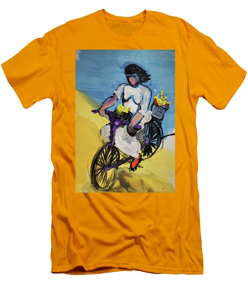 Bicycle Riding With Baskets Of Flowers Men's T-Shirt (Slim Fit) by Amara Dacer