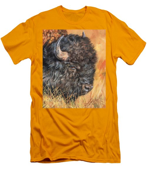 Men's T-Shirt (Slim Fit) featuring the painting Bison by David Stribbling