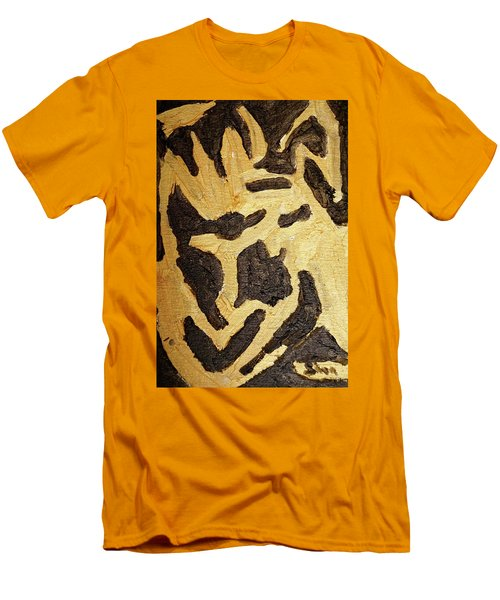 Men's T-Shirt (Slim Fit) featuring the painting Black And Gold Mask by Shea Holliman