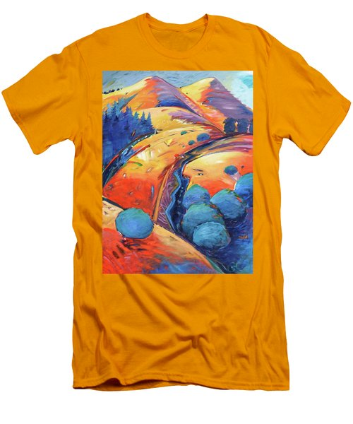 Blue And Gold Men's T-Shirt (Slim Fit) by Gary Coleman
