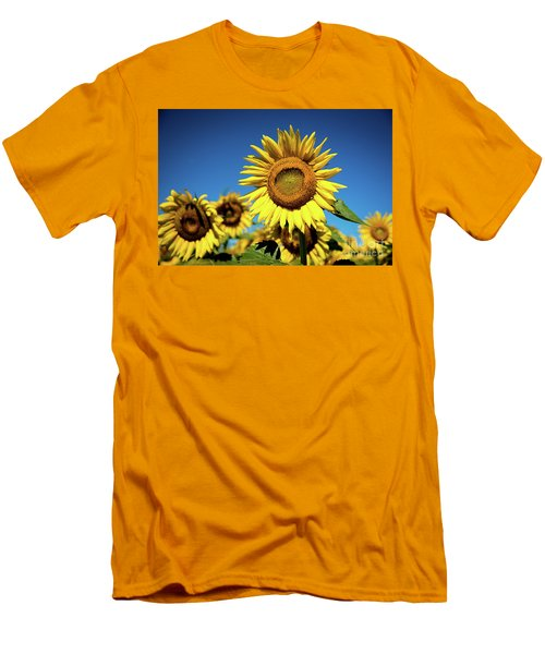 Men's T-Shirt (Slim Fit) featuring the photograph Blue And Gold by Sandy Molinaro